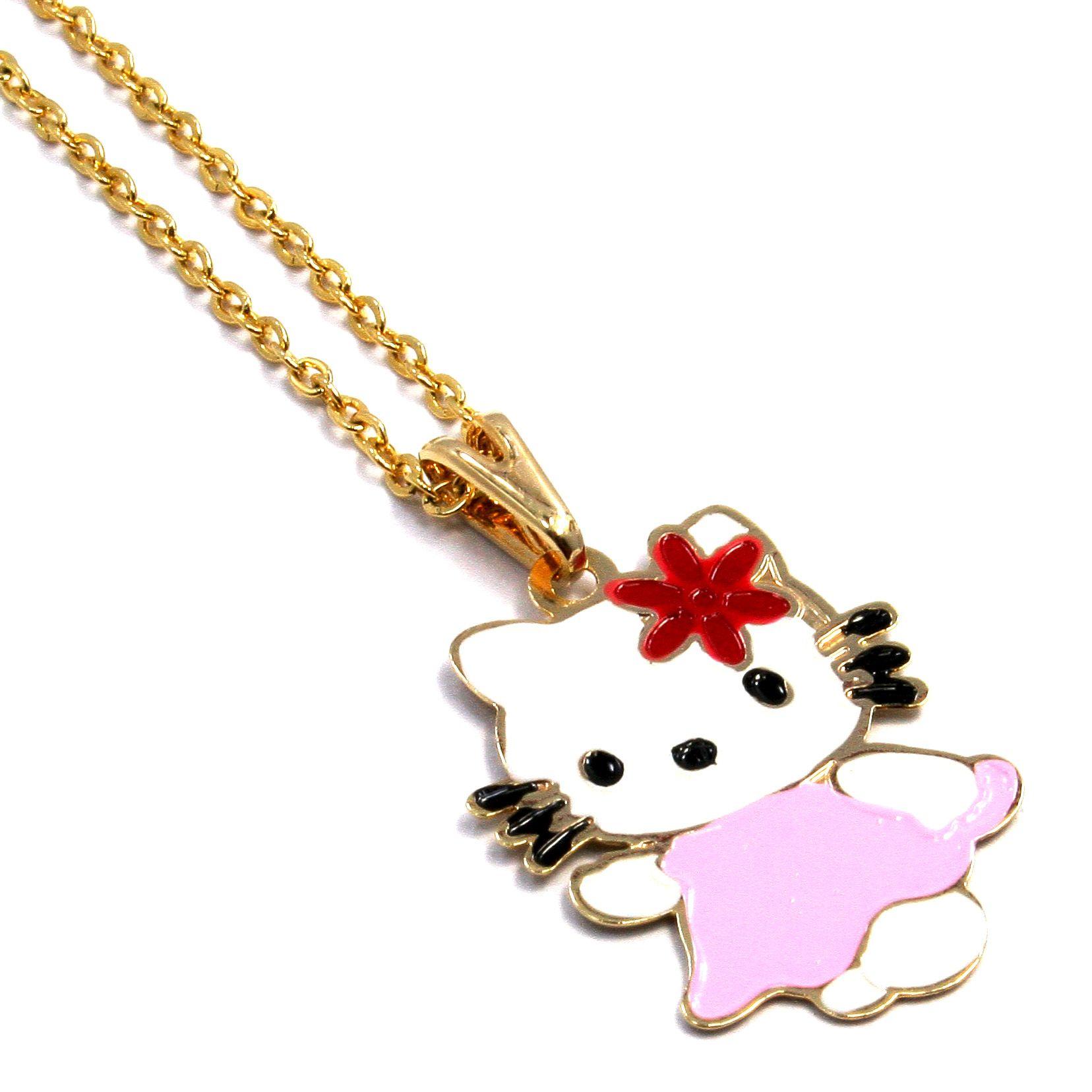 Gold 18K GF Flower Enamel Hello Kitty Girl Baby Pendant Charm Chain