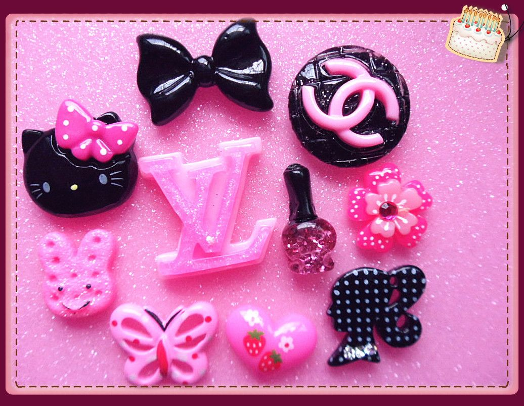 DIY Hello Kitty black pink embellishment phone deco cabochon kits