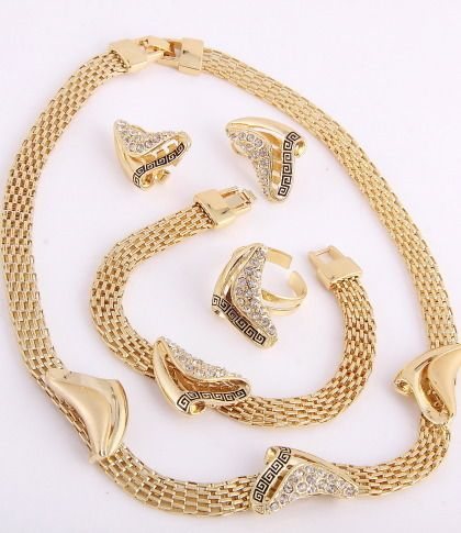 Greek Design Gold Plated Necklace Bracelet Earring Ring Set Rhinestone
