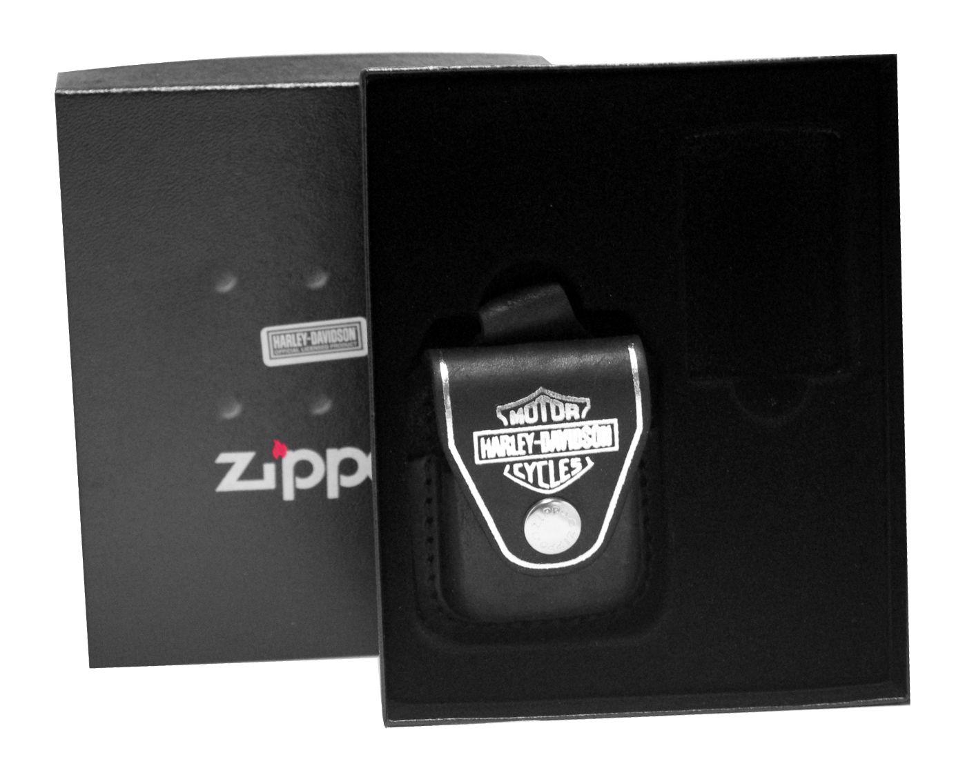 Zippo HDP6 Harley Davidson Black Lighter Pouch Gift Set New