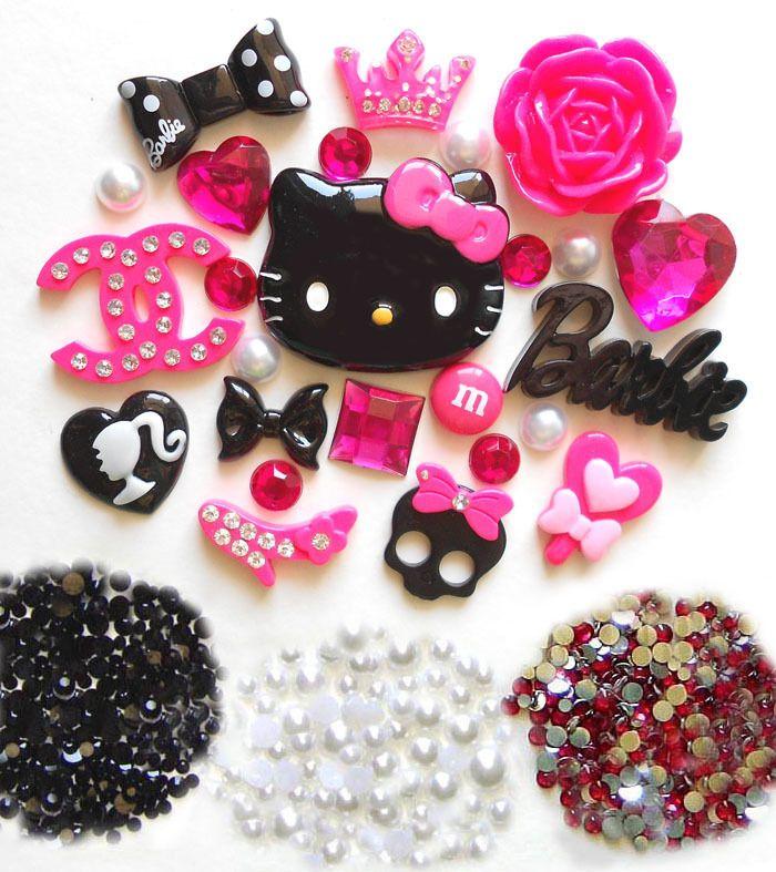 USA    DIY Hello Kitty Bling Phone Case Flatback Cabochons Kawaii Deco