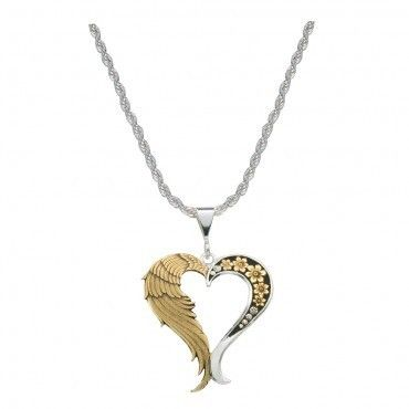 Silversmith NC1128 Love Heaven Angel Wing Heart Necklace Gold Silver