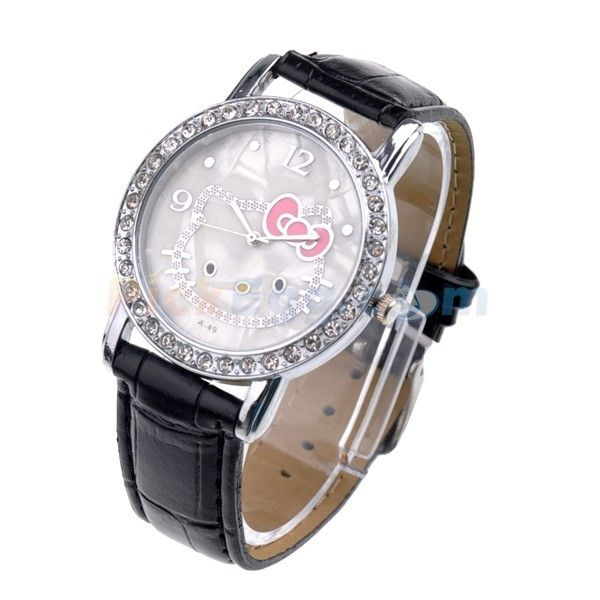 10 Wholesale Hello Kitty Black Watch Mother of Pearl