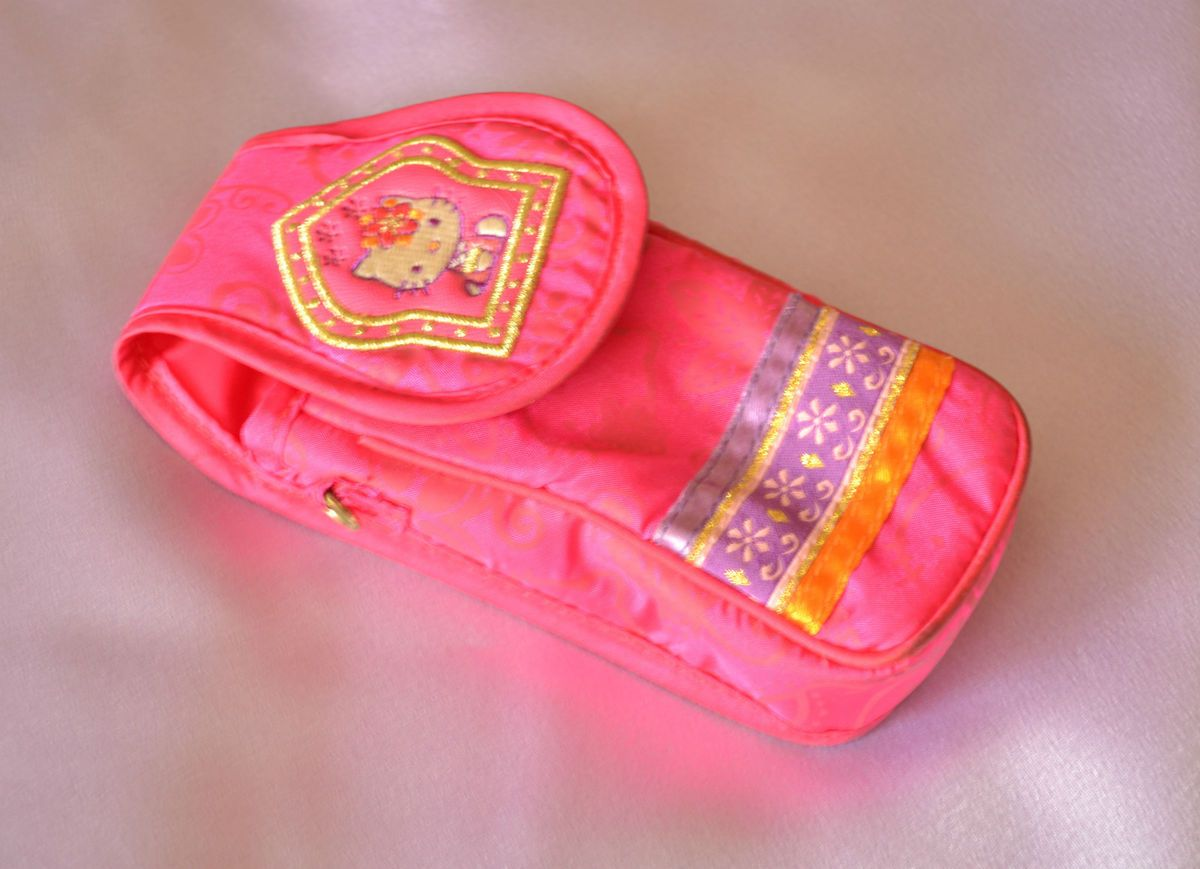 Sanrio Hello Kitty Pink Purple Gold Ethnic India Cell Phone Bag Pouch