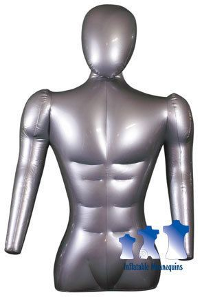 Inflatable Mannequin Male Torso w Head Arms Silver