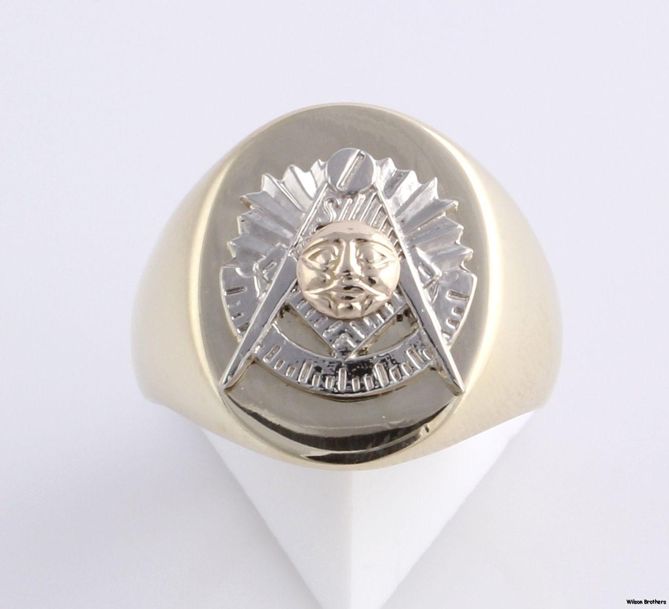 Past Master Custom Made Masonic Ring 10K Yellow White Gold Solid Back
