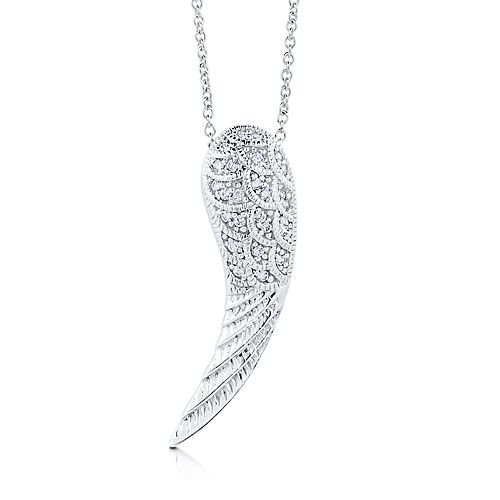 Sterling Silver 925 Pave CZ Angel Wing Pendant Necklace