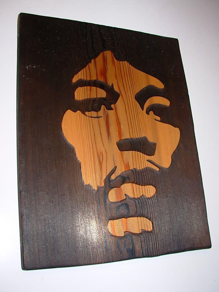 Jimi Hendrix Woodburn Custom Art Cedar Wood Burn