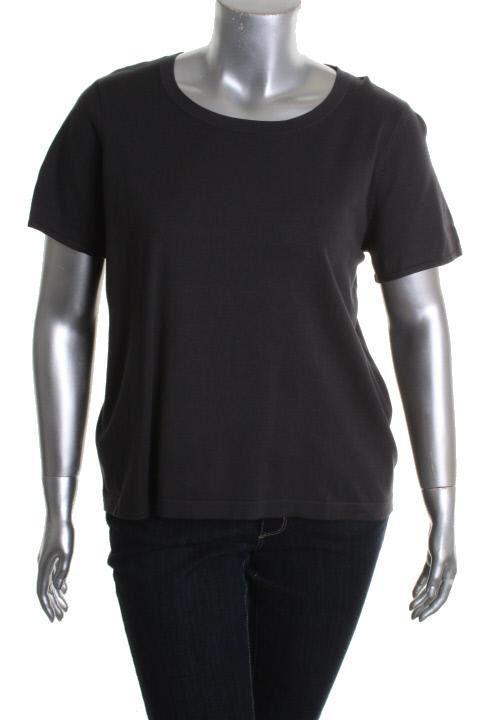 Jones New York NEW Gray Short Sleeve Scoop Neck T Shirt Top Plus 2X BHFO