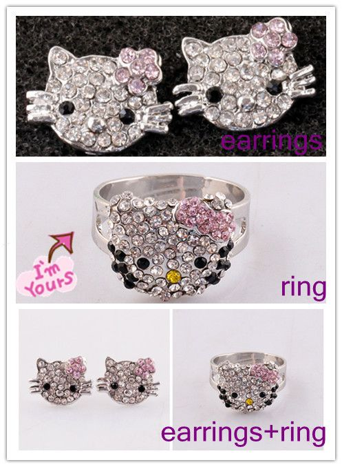 10 20pcs Children Hello Kitty Stud Earring Rings Sets Crystal Jewelry