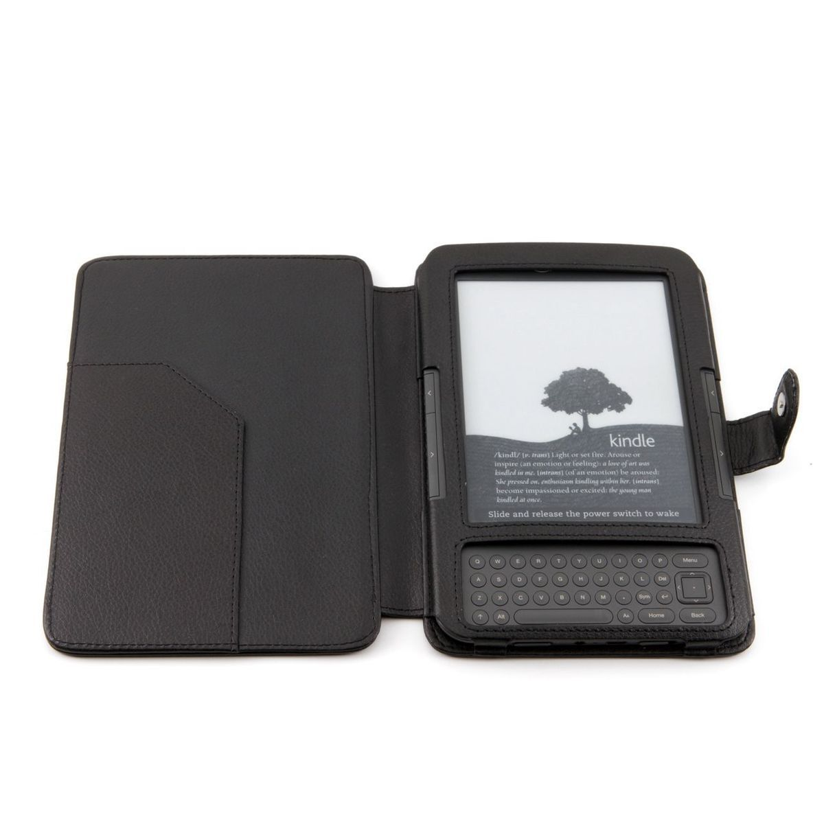 Black PU 2 Leather Case Cover for Kindle Keyboard with Slim Light Fast