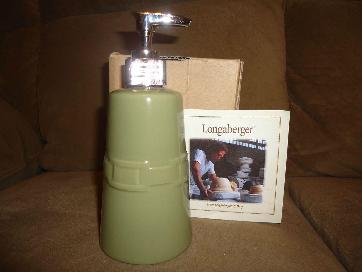Longaberger Woven Traditions Pottery Sage Soap Pump Dispenser RARE New