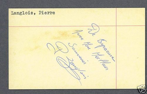 Pierre Langlois Signed Boxing 3 x 5 Index Card Deceased