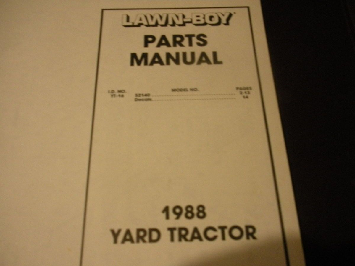 Lawn Boy Yt 16 52140 Tractor Mower Dealer Illustrated Parts Engine Diagram Furthermore Craftsman