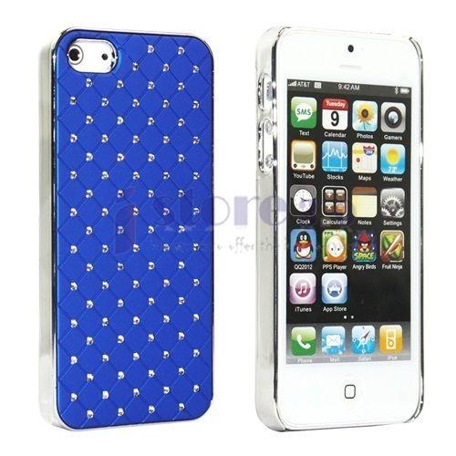 Blue Luxurious Lattice Diamonds Hard Case Cover Skin for Apple iPhone