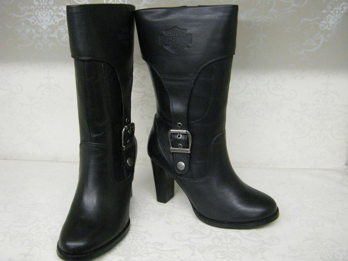 Ladies Harley Davidson Reese Black Leather High Heel Med Calf Boots