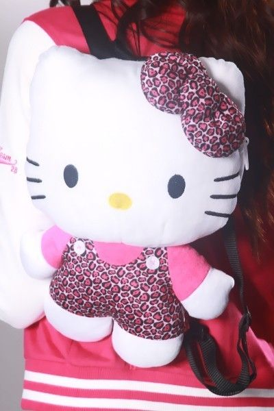 Sanrio Hello Kitty Plush Backpack Costumes Bag Pink Leopard