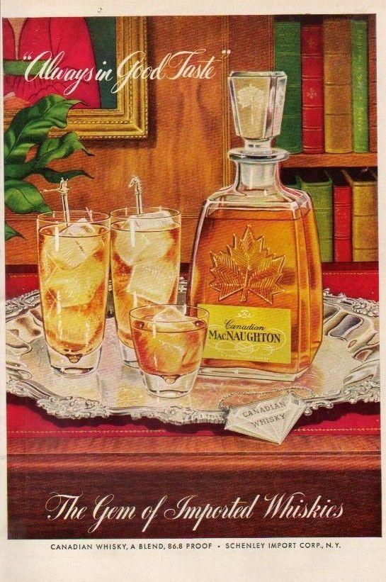 1955 MacNaughton Canadian Whisky Bottle Decanter Whiskey Always In