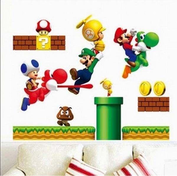 Super Mario Kids Wall Stickers Nursery Decals baby room Decor Vinyl