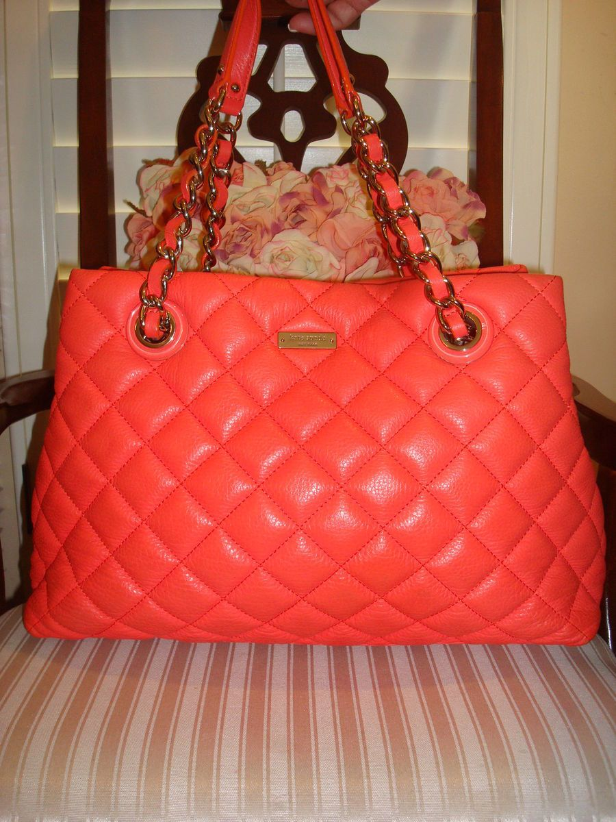 Authentic Kate Spade Gold Coast Maryanne Quilted Orange Leather Bag