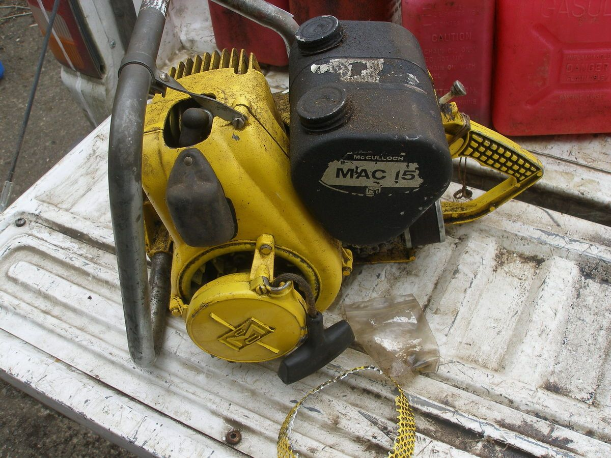 Vintage Mcculloch Mac 15 Chainsaw For Parts Engine Diagrams
