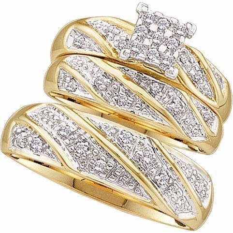 Mens Ladies 10K Yellow Gold Diamond Engagement Ring Wedding Band