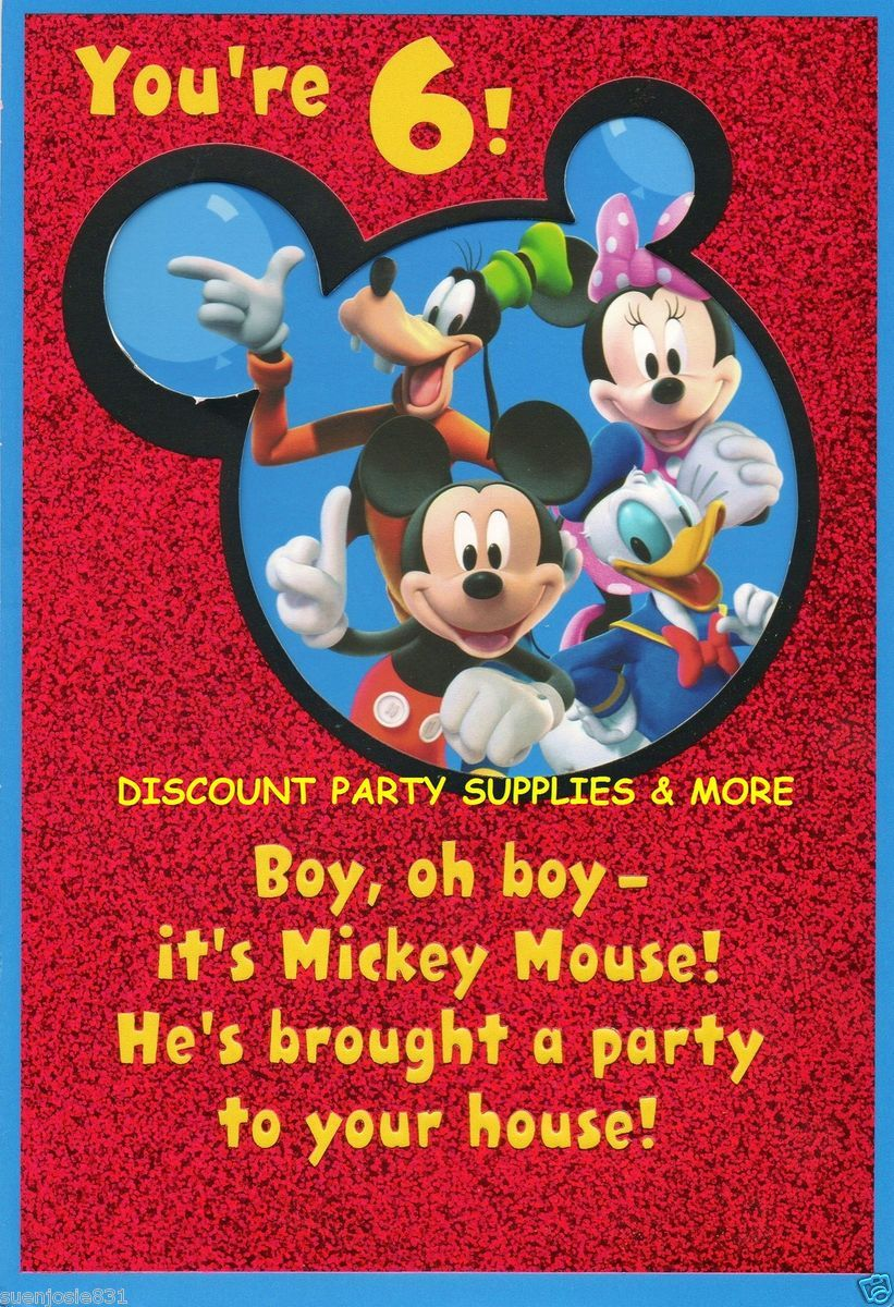 Disney Mickey Mouse Friends 6th Birthday Greeting Card