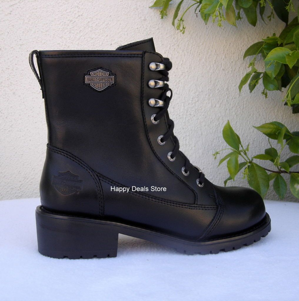 NEW HARLEY DAVIDSON WOMEN BLACK LEATHER MOTORCYCLE BOOTS D84199 ALL