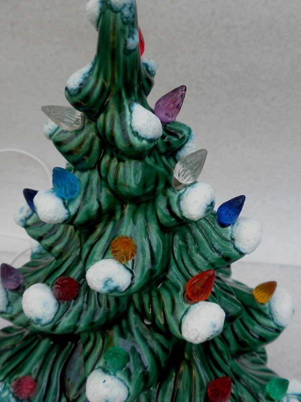 Vtg Ceramic Gr CHRISTMAS TREE Electric Multi SNOW 14 in