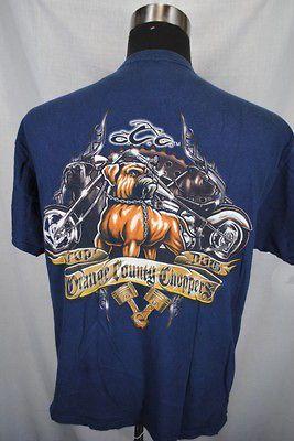 ORANGE COUNTY CHOPPERS bull dog biker motorcycle men short sleeve t