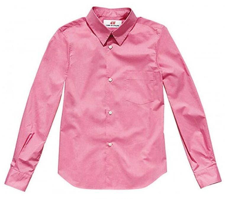 COMME DES GARCONS H&M PINK 100% COTTON FITTED TAILORED SHIRT 10 6 36