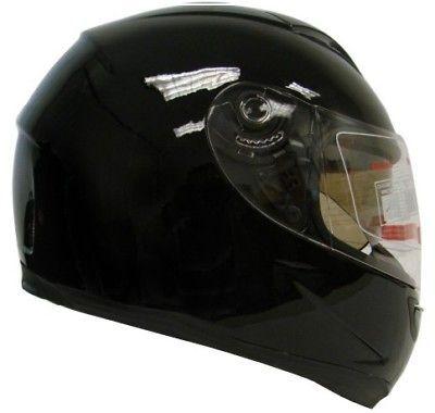 GLOSSY BLACK DUAL SHIELD FULL FACE MOTORCYCLE SPORT HELMET SMOKE SUN