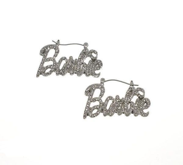 Nicki Minaj Inspired Pink Glitter Pearly Barbie Earrings Necklace Set