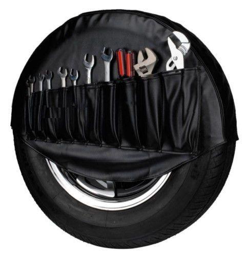 VW Beetle Karmann Ghia T1 Spare Wheel Tire Cover Black Tool Bag OEM