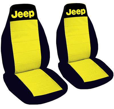 JEEP WRANGLER CAR SEAT COVERS YELLOW & BLACK WITH WRITING JEEP FRONT