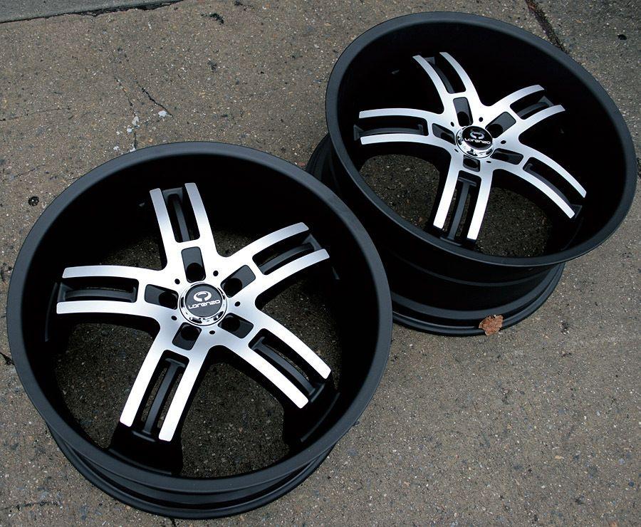 Lorenzo WL026 22 Black Rims Wheels Infiniti M35 Staggered