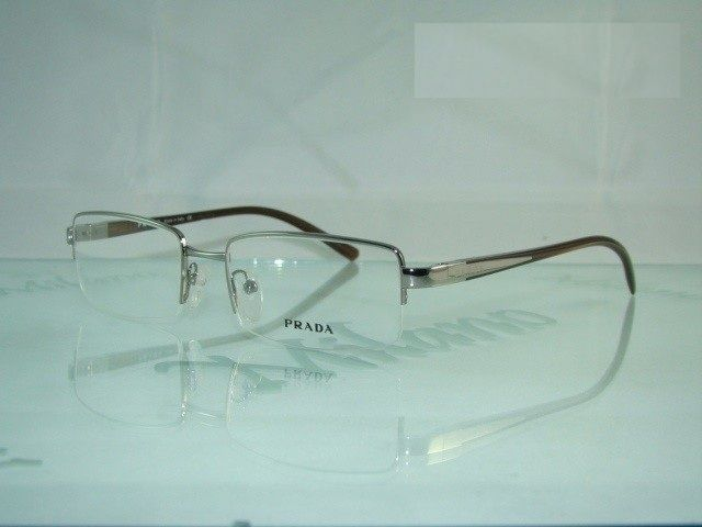 Price PRADA VPR 57I 7JQ 1O1 BROWN Half Rim Eyeglasses Frames Size 51