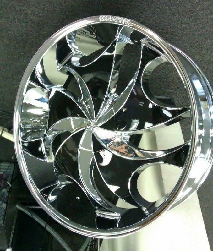26 Rocknstarr 561 Rims Tires Pkg Chrome Wheels Black Inserts 5x114 3