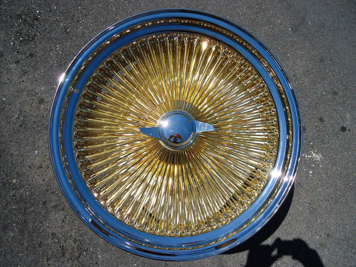16 Dayton Gold Chrome 16x7 Wire Wheels Rims Knockoffs Triple Gold 100