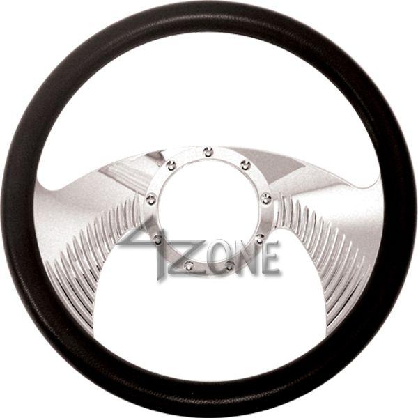14 Chrome Billet Aluminum Steering Wheel w Half Wrap 9 Hole 67 94