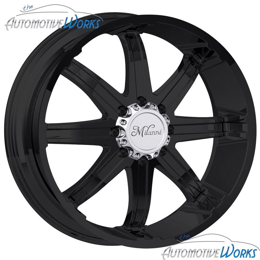 Milanni Kool Whip 8 8x170 18mm Matte Black Wheels Rims inch 24