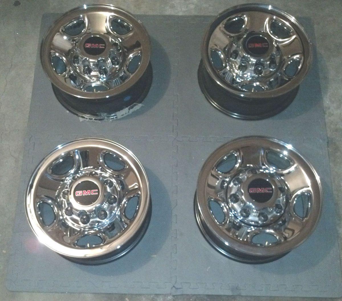GMC 8 Lug Chrome Steel Wheels Rims 16 OEM Silverado Sierra Van 2500 HD